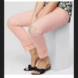 LOFT Peach Pink BOYFRIEND DISTRESSED Jeans 25 0